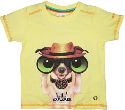 FS Mini Klub Printed Baby Boy's Henley Yellow T-Shirt