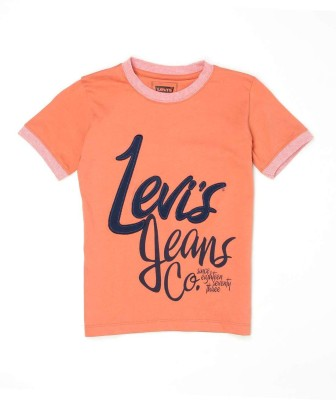 Levis Kids Graphic Print Boy's Round Neck Orange T-Shirt