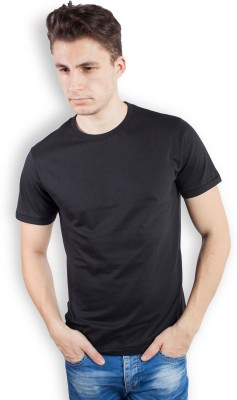 TOMO Solid Men's Round Neck Black T-Shirt