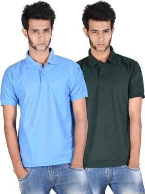 Whistle Solid Men's Polo Neck Light Blue, Dark Green T-Shirt