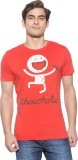 Chimp Graphic Print Men's Round Neck Red...