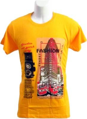 Revinfashions Printed Men's Round Neck Yellow T-Shirt