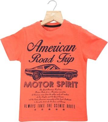 Allen Solly Graphic Print Boy's Round Neck Orange T-Shirt