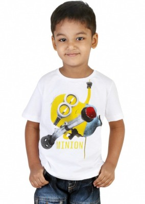 Big Tree Solid Boy's Round Neck White T-Shirt