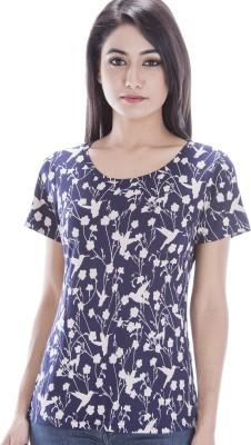 Peppermint Blues Animal Print Women,s Round Neck Multicolor T-Shirt