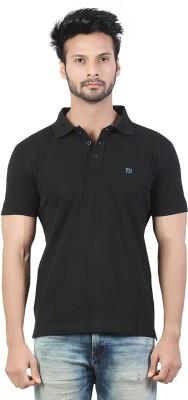 Afylish Solid Men's Polo Neck Black T-Shirt