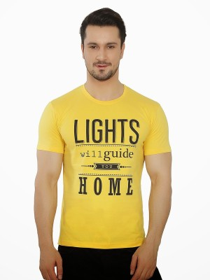 Meet Your Makers Printed Men's Round Neck Yellow T-Shirt