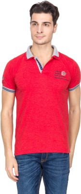 V9 Solid Men's Polo Neck Red T-Shirt
