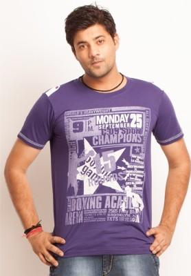 Everyuth Solid Men's Round Neck Purple T-Shirt