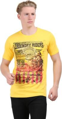 Stylefox Graphic Print Men's Round Neck Yellow T-Shirt