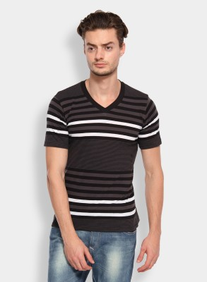Calix Striped Men's V-neck Grey, White T-Shirt