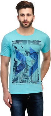Ausy Solid, Printed Men's Round Neck Light Blue T-Shirt
