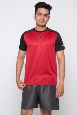 Acetone Solid Men's Round Neck Red, Black T-Shirt
