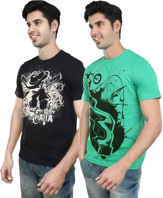 Algotton Graphic Print Men,s Round Neck Black, Green T-Shirt