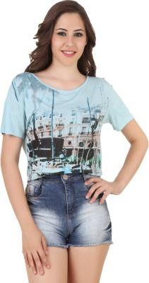 Spunk Printed Women,s Round Neck Blue T-Shirt