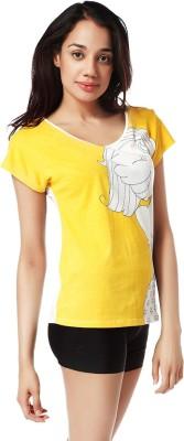 Mystere Paris Printed Women's Round Neck Yellow T-Shirt