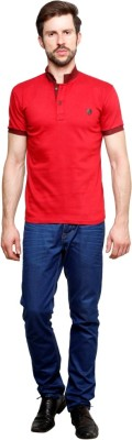 99Hunts Solid Men's Polo Neck Red T-Shirt