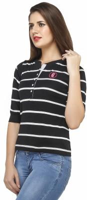 Run of luck Striped Women's Henley Black T-Shirt