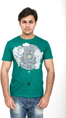Daily Label Graphic Print Men's Round Neck Green T-Shirt