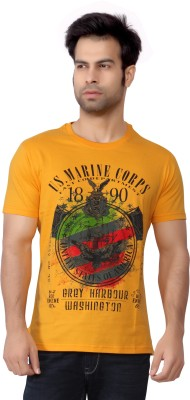 Cod Jeans Printed Men's Round Neck Yellow T-Shirt