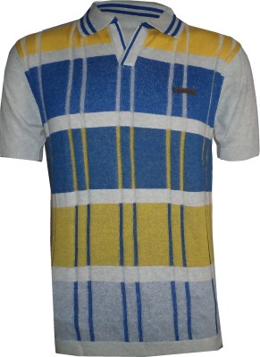 Tick Lish Striped Men's Polo Neck Grey, Light Blue, Yellow T-Shirt