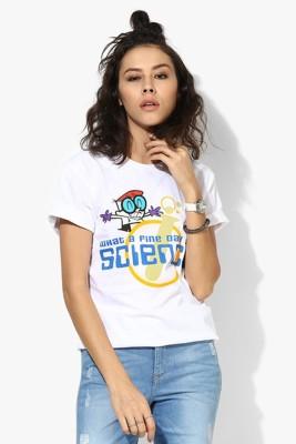 Dexter Graphic Print Women's Round Neck White T-Shirt