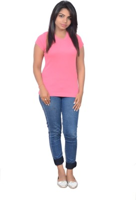 Point Fit Solid Women's V-neck Pink T-Shirt