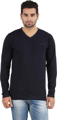 R - Cross Solid Men's V-neck Dark Blue T-Shirt