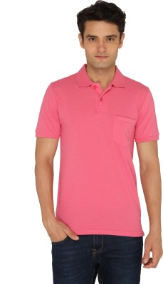 Chromozome Solid Men's Polo Neck Pink T-Shirt