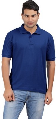 UNO COTTON Solid Men's Polo Dark Blue T-Shirt