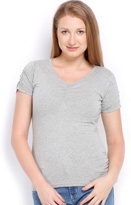 ESPRESSO Solid Women's V-neck Grey T-Shirt