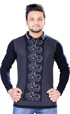 A33 Store Striped Men's V-neck Dark Blue T-Shirt