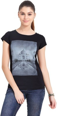 The Indian Solid Women's Round Neck Black T-Shirt