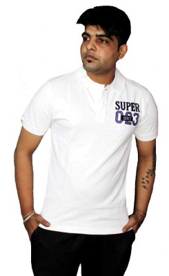 AS42 Solid Men's Polo Neck White T-Shirt