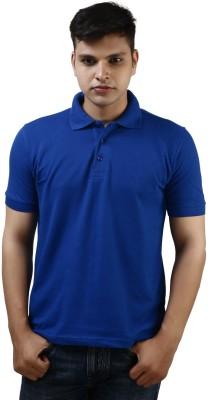 Kraasa Solid Men's Polo Blue T-Shirt