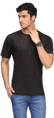 Vicbono Solid Men's Round Neck Black T-Shirt