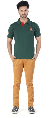 Kkoir Embroidered, Solid Men's Polo Dark Green T-Shirt