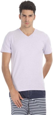 Zobello Solid Men's V-neck Multicolor T-Shirt