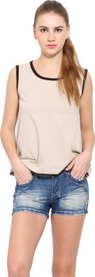 Sugar Her Solid Women's Round Neck Beige T-Shirt