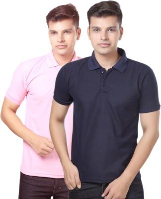 eSOUL Solid Men's Polo Neck Pink, Dark Blue T-Shirt