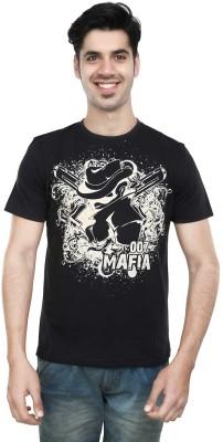 Algotton Printed Men,s Round Neck Black T-Shirt