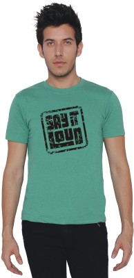 Threadz Printed Men's Round Neck Green T-Shirt
