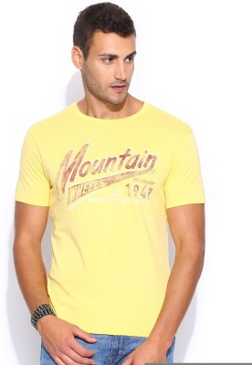 Wrangler Solid Men's Round Neck Yellow T-Shirt