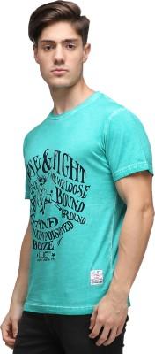 UJC Graphic Print Men's Round Neck Light Green T-Shirt