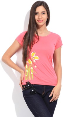 STYLE QUOTIENT BY NOI Printed Women's Round Neck Pink T-Shirt