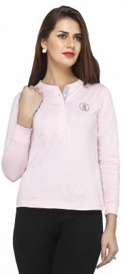 Run of luck Solid Women's Henley Pink T-Shirt