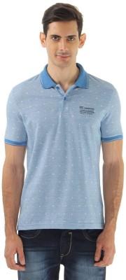 Monte Carlo Printed Men's Polo Neck Blue T-Shirt