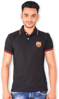 FC Barcelona Solid Men's Polo Neck T-Shirt