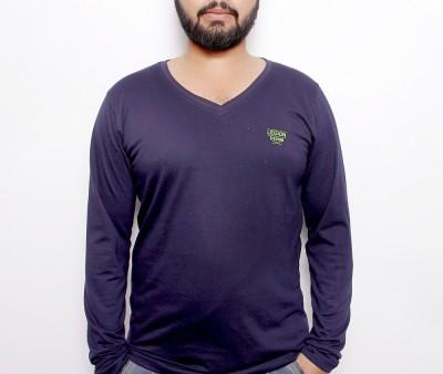 OCTAVE Solid Men's V-neck Blue T-Shirt
