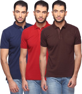 GOAT Solid Men's Polo Neck Dark Blue, Maroon, Brown T-Shirt